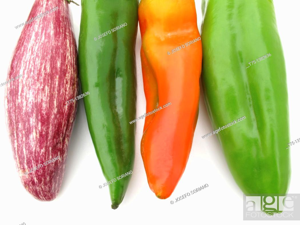 Stock Photo: Peppers and eggplant.
