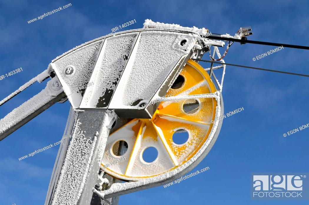 Stock Photo: Cable fixing of the Nebelhorn Cable Car at the summit station, Nebelhorn, 2224m, Oberstdorf, Oberallgaeu district, Bavaria, Germany, Europe.