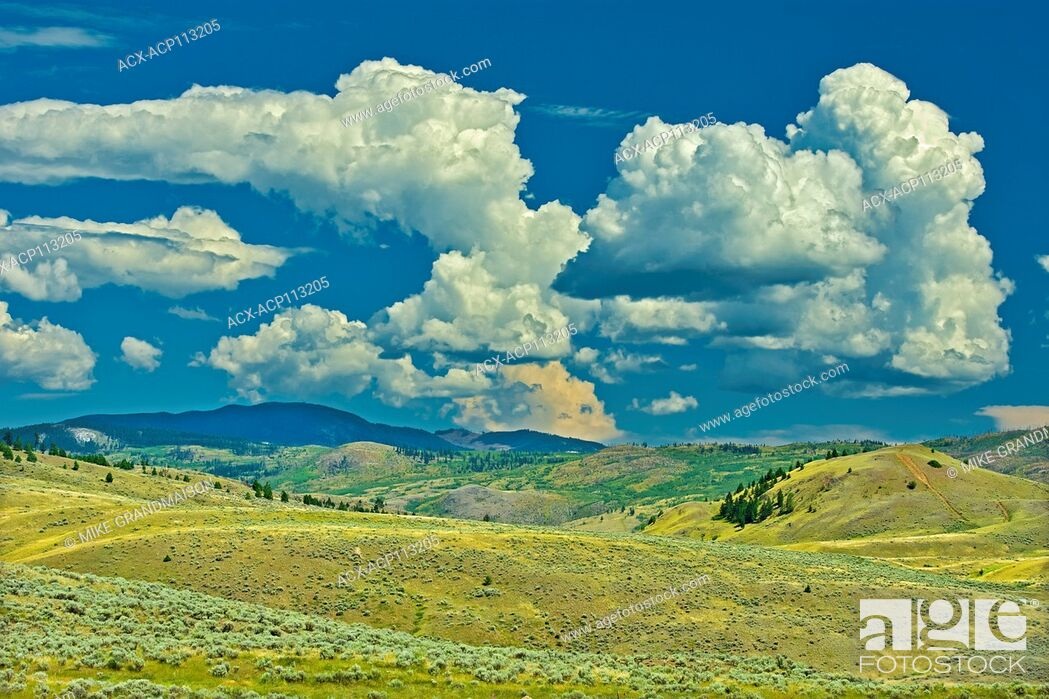 Stock Photo: Clouds and Grasslands. Thompson Valley, Kamloops, British Columbia, Canada.