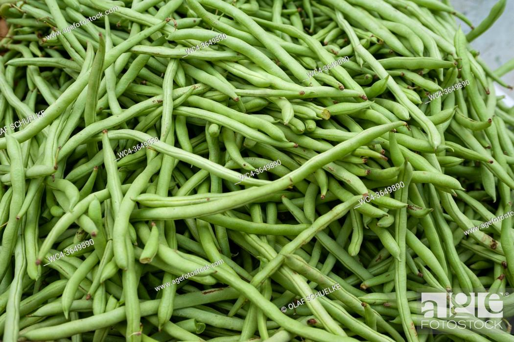 Stock Photo: Singapore, Republic of Singapore, Asia - Fresh green beans are sold at a street market in Little India.