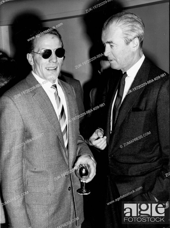 Stock Photo: Jan. 13, 1959 - London, England, U.K. - Actor JAMES STEWART chatting with HENRY COOPER at the Variety Club Sports Luncheon at the Savoy Hotel.