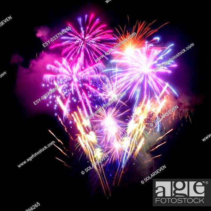 Stock Photo: A large Fireworks Display event.