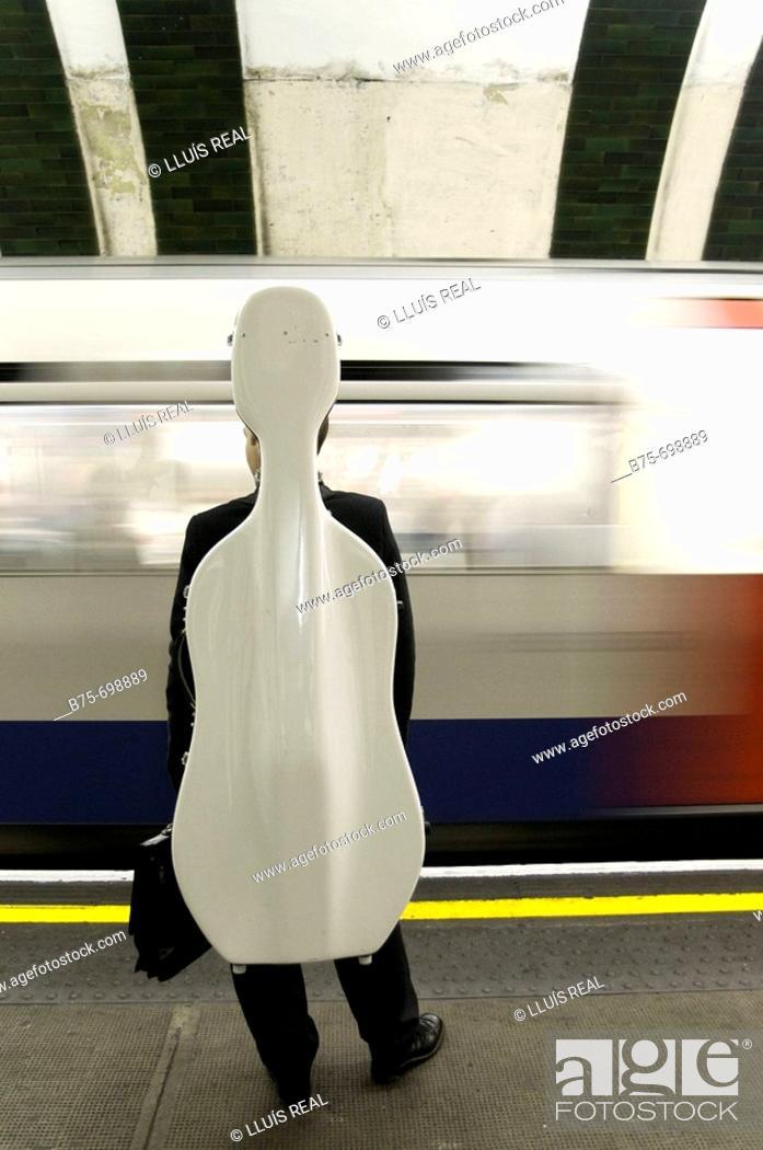 Stock Photo: Music, underground station, tube station, London, England, U.K.