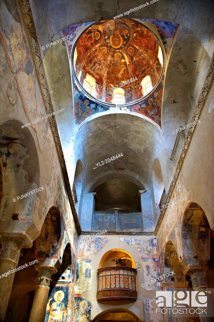 Stock Photo: The interior of the Byzantine Metropolis Church , Mystras , Sparta, the Peloponnese, Greece. A UNESCO World Heritage Site.