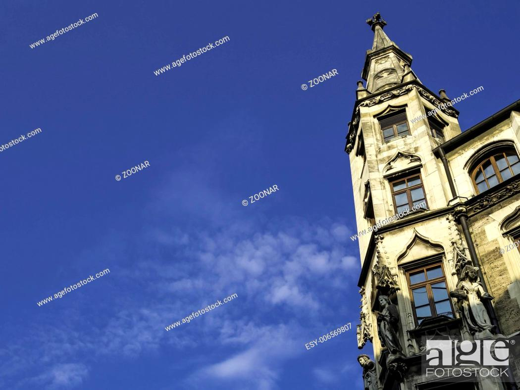 Stock Photo: Tower on the city hall in Munich.
