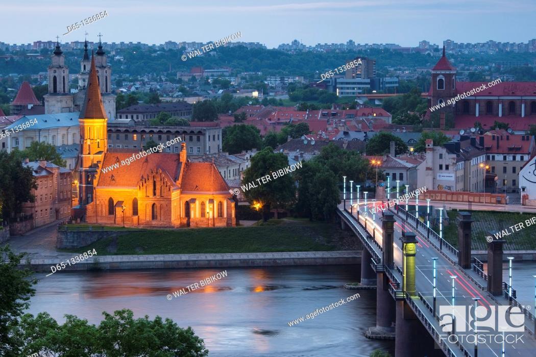 Stock Photo: Lithuania, Central Lithuania, Kaunas, elevated view of Vytautas Church and Aleksoto tiltas bridge, dusk.