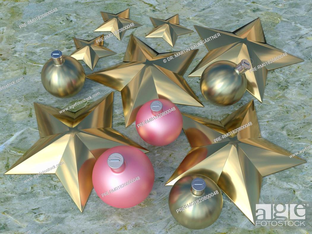 Imagen: Christmas baubles and stars on marble, photo-realistic computer graphic / Christbaumkugeln und Sterne auf Marmor, fotorealistische Computergrafik.