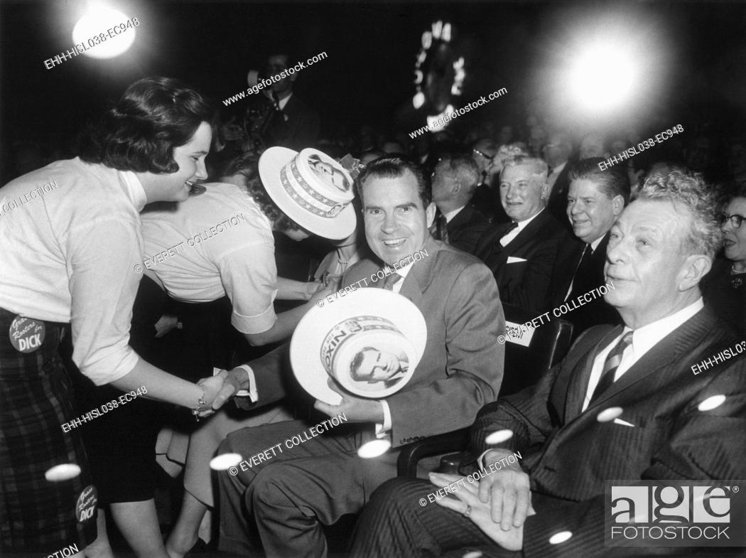 Stock Photo: Richard Nixon at a Republican campaign event, April 4, 1960. At this time he was the presumed presidential nominee. At right is Senator Everett Dirksen.