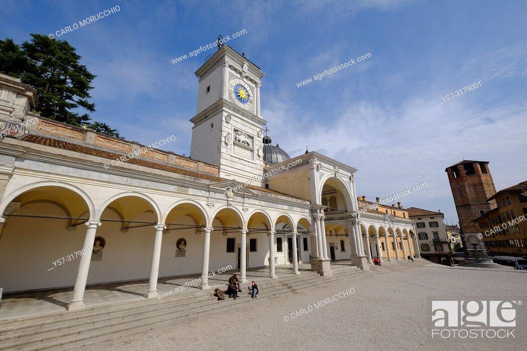 Stock Photo: Loggia di San Giovanni and the Clock Tower, Piazza della Libertà, Udine, Friuli Venezia Giulia, Italy, Europe.