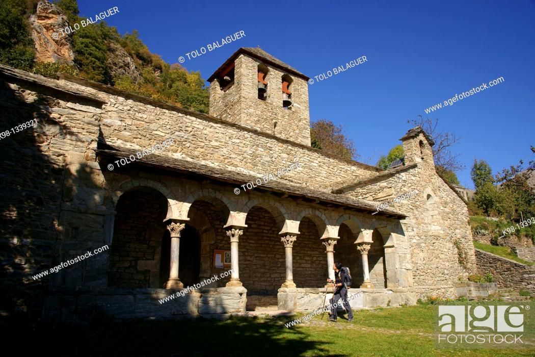 Stock Photo: Romanesque church of Sant Jaume, Queralbs, GR11 long distance footpath Lleida, Pyrenees Mountains, Catalonia, Spain.