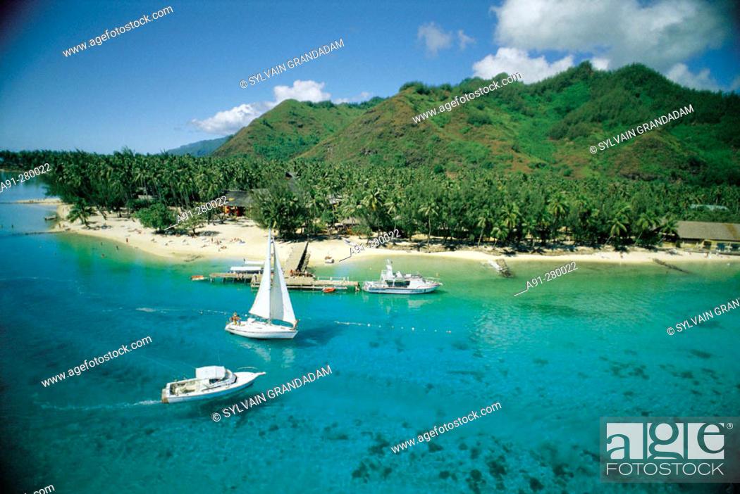 Aerial Of Haapiti Beach Moorea Island Windward Islands
