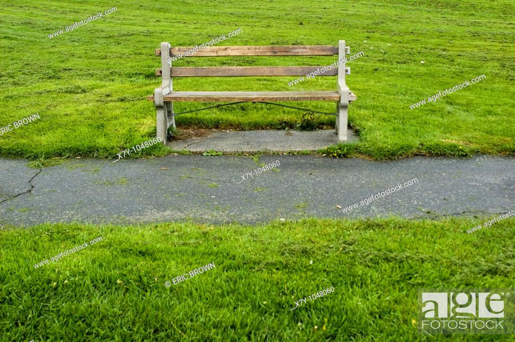 Stock Photo: A park bench, as seen in Portland, Maine.