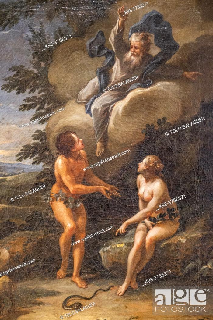 Stock Photo: expulsion from paradise, 1745, oil on canvas, Guillem Mesquida, Can Puig, Palma, Mallorca, Balearic Islands, Spain.