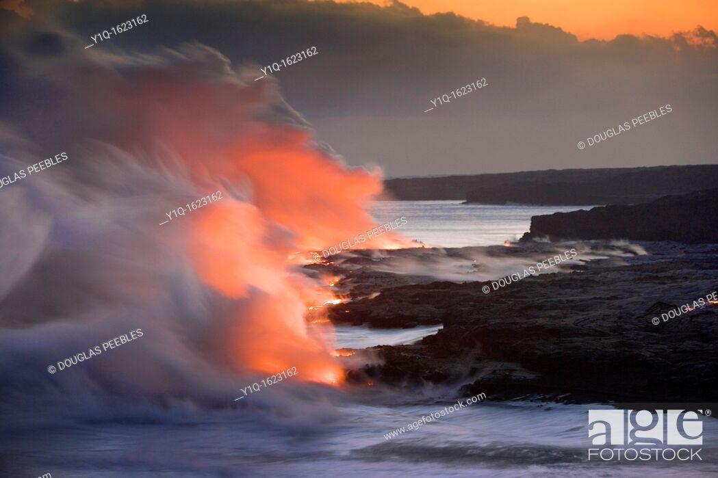 Stock Photo: Lava into Ocean, Kilauea Volcano, Island off Hawaii, USA.