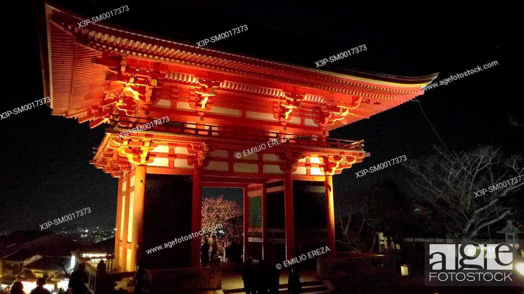 Stock Photo: Nioumon (deva gate) near the entrance of Kiyomizu-dera Temple in Kyoto, Japan.