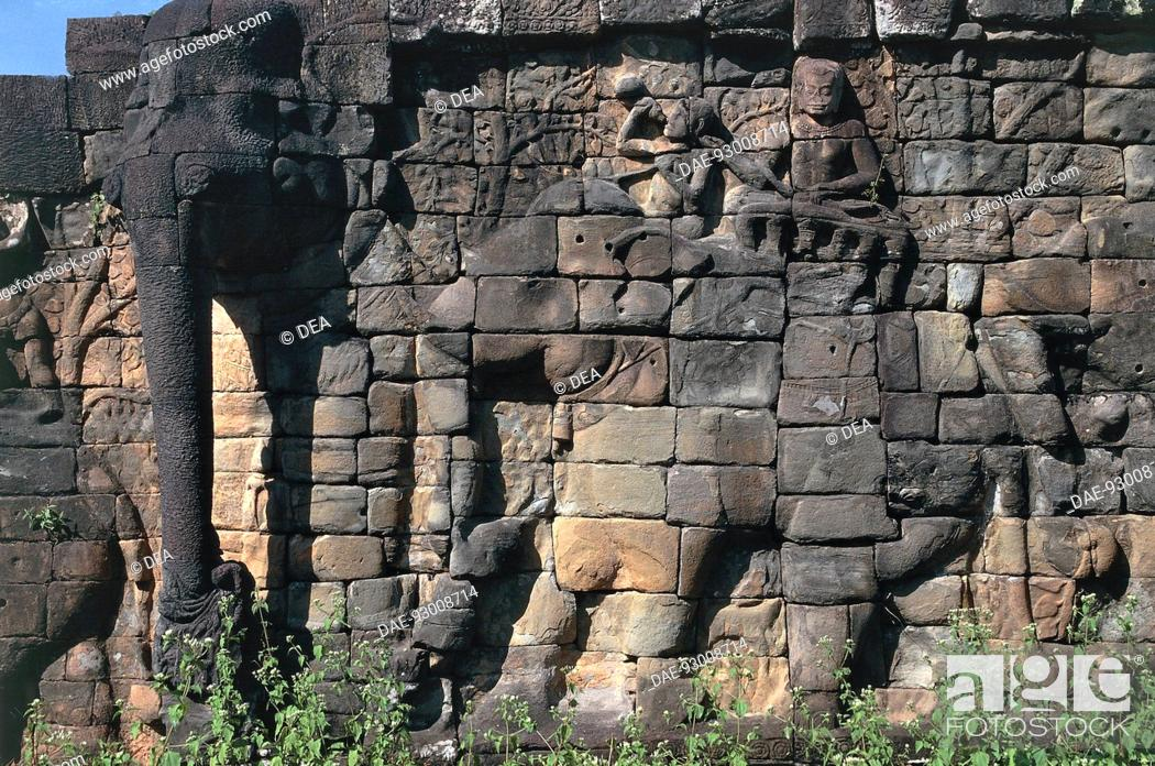 Stock Photo: Cambodia - Angkor Archaeological Center (World Heritage Site by UNESCO, 1992). Terrace of the Elephants, relief.