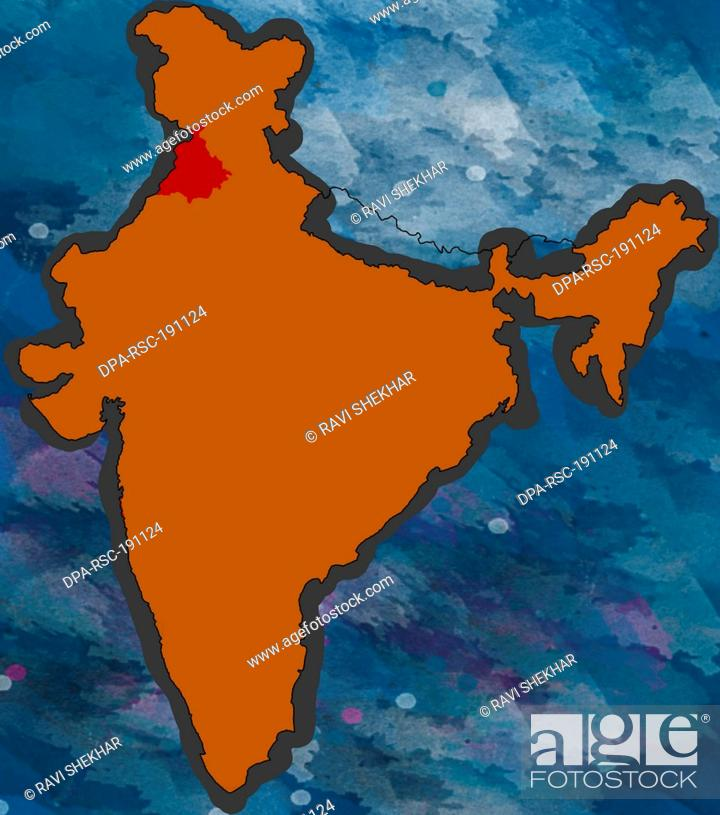 Illustration Punjab Location map India, Stock Photo, Picture And