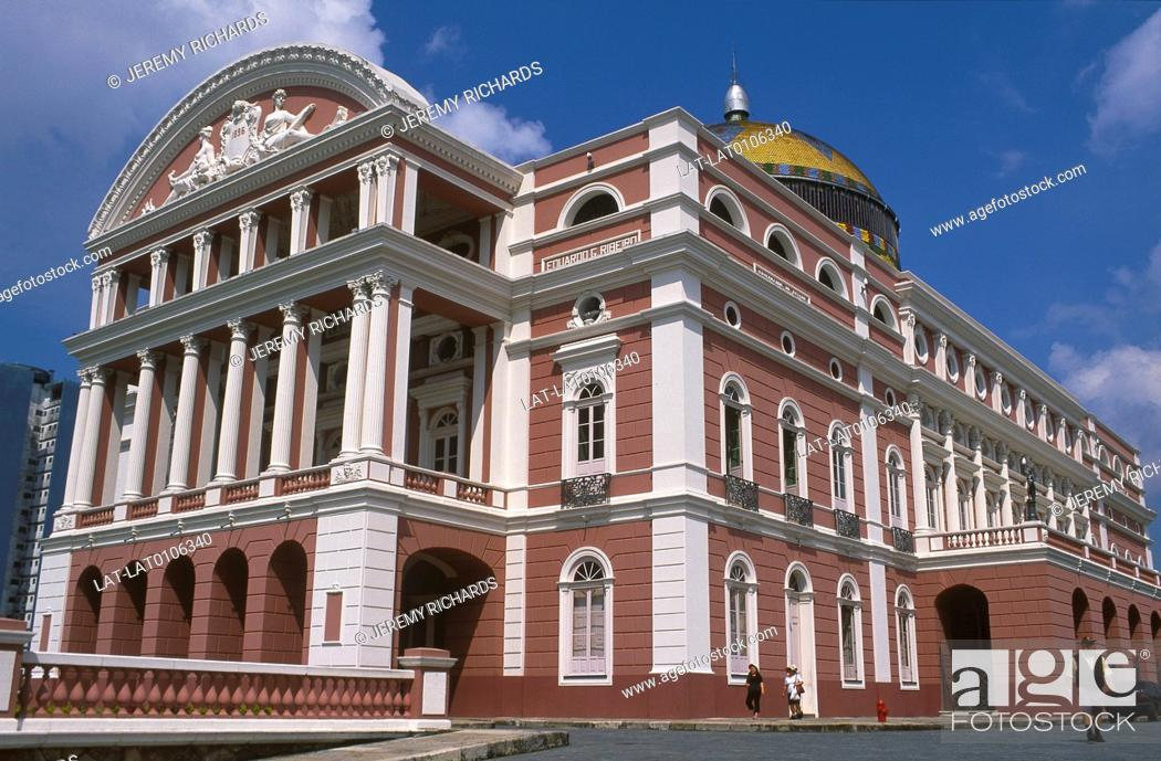 Stock Photo: The Amazon Theatre or Teatro Amazonas is an opera house completed in 1896, during the height of the rubber boom, a copy of the Grand Opera de Paris.