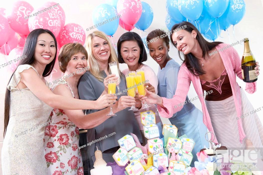 Stock Photo: Friends Having a Toast at a Baby Shower.