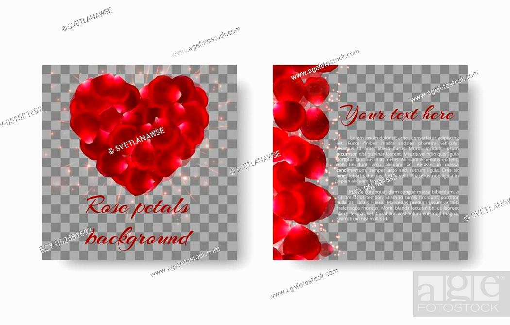 Stock Vector: Romantic background with red rose petals in the shape of a heart for congratulations on Valentine's Day or Mother's Day.