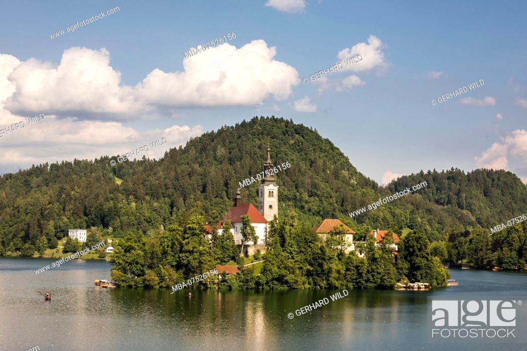 Stock Photo: Baroque church on Bled Island, Bled, Julian Alps, Upper Carniola, Slovenia.