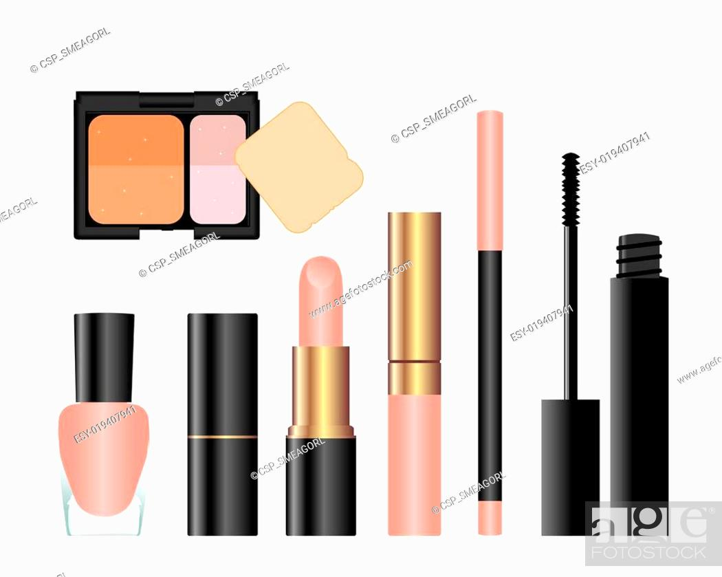 Stock Vector: Collection of female accessories of beauty.