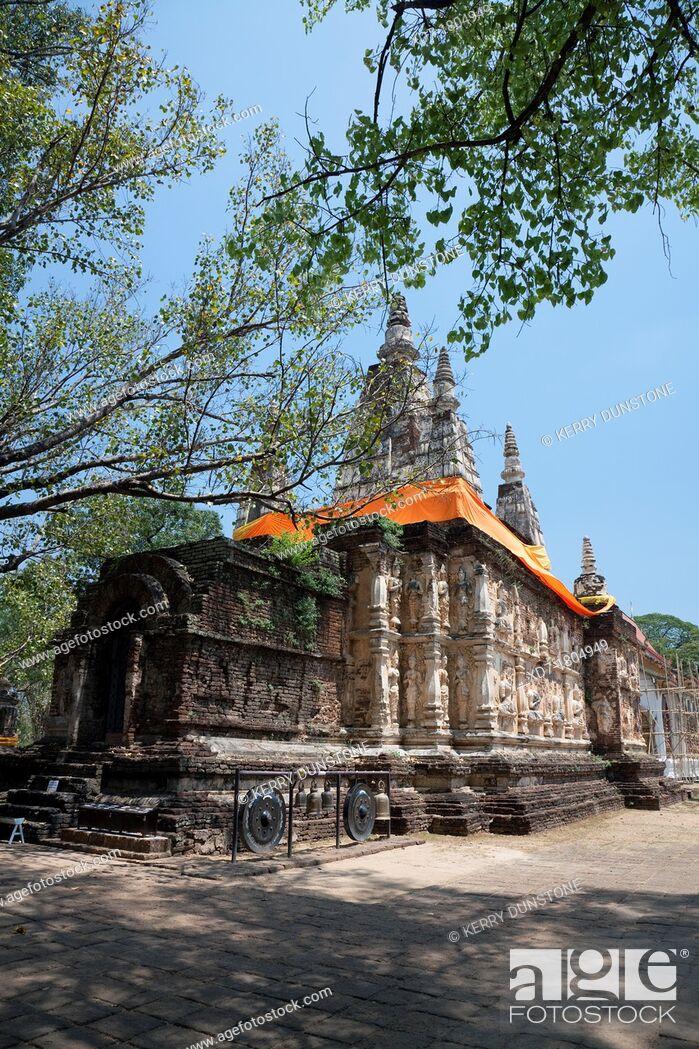 Stock Photo: The Maha Chedi, Wat Chet Yot, Wat Photharam Maha Wihan, Chiang Mai, Thailand.