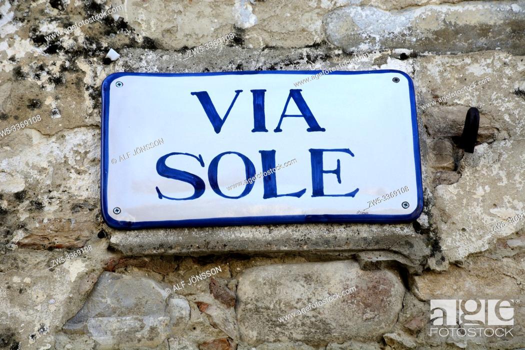 "Stock Photo: Street sign """"Via Sole"""" on a wall in Aliano village; Basilicata, Italy."
