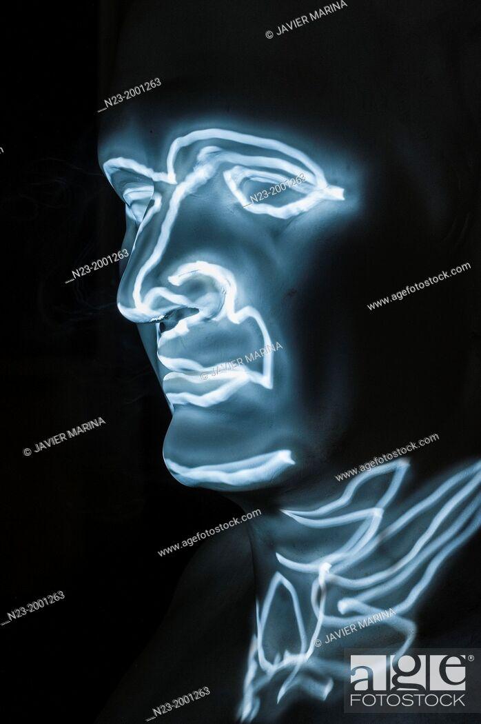 Stock Photo: Bust drawn with light, valencia, España.