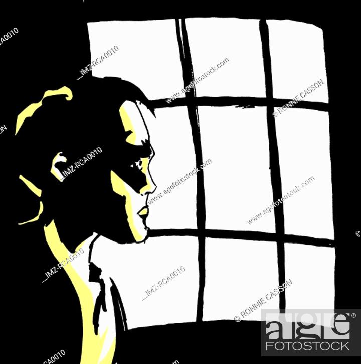 Stock Photo: A worried man looking out a window.