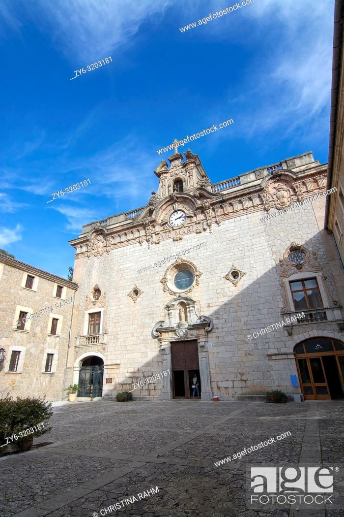 Stock Photo: LLUC, MALLORCA, SPAIN - DECEMBER 3, 2018: Exterior medieval drystone monastery building on December 3, 2018 in Lluc, Mallorca, Spain.