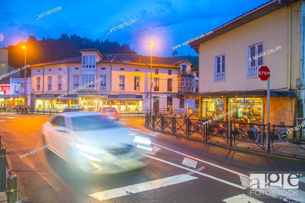 Stock Photo: Restaurants and terraces, night view. Unquera, Cantabria, Spain.