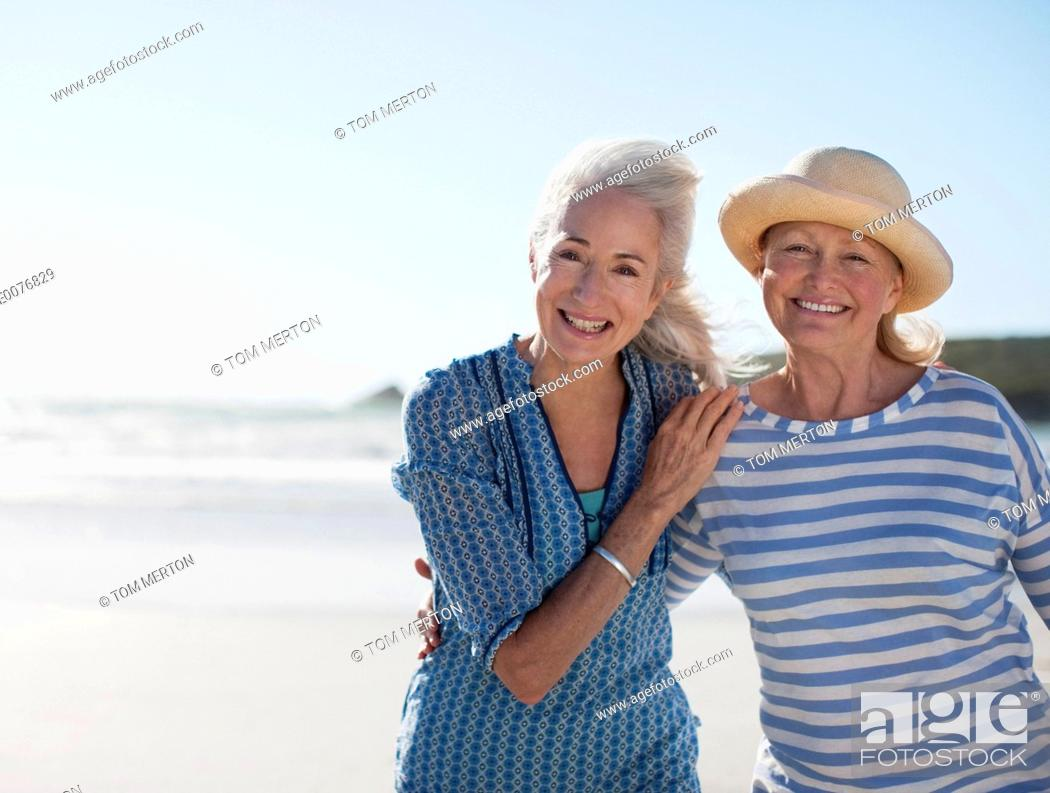 Stock Photo: Senior women on beach.