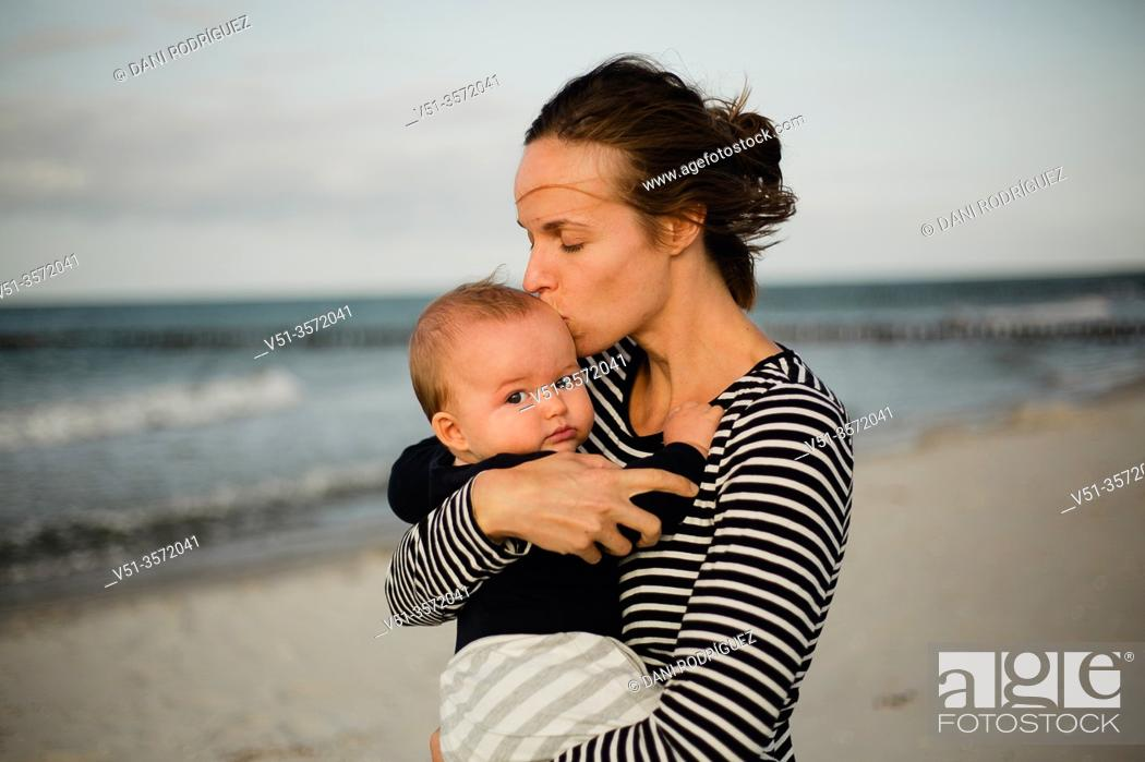 Stock Photo: Mother and son at the beach.