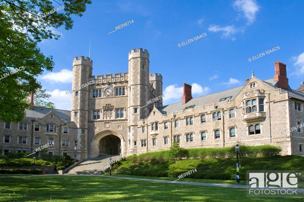 Stock Photo: Buyers Residentail Hall and Blair Hall with clock tower, dorms at Princeton University, good examples of Collegiate Gothic architecture  Princeton, New Jersey.