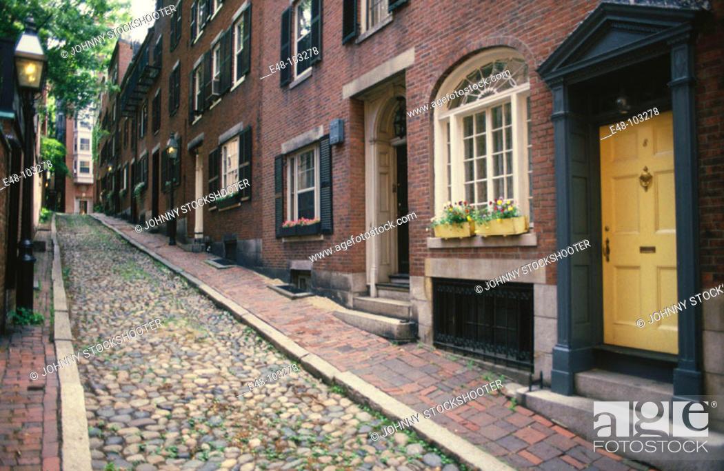 Stock Photo: Acorn Street. Boston . Massachusetts. USA.