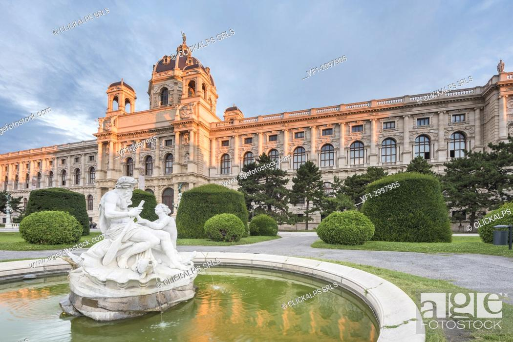 Stock Photo: Vienna, Austria, Europe. Tritons and Naiads fountain on the Maria Theresa square with the Natural History Museum in the background.