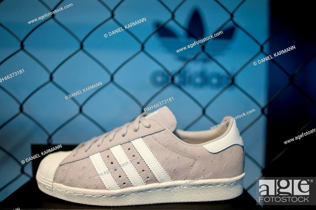 A shoe from sportswear company Adidas AG can be seen during the