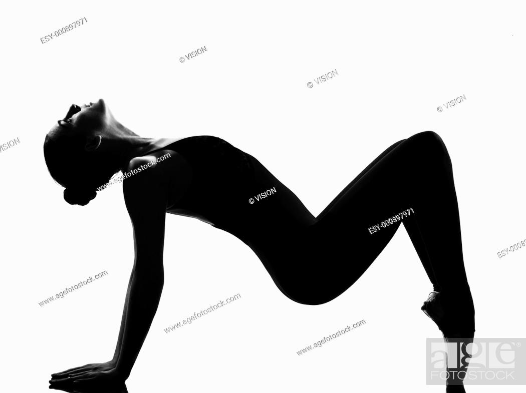 Stock Photo: beautiful caucasian tall woman ballet dancer tiptoe pose full length on studio isolated white background.