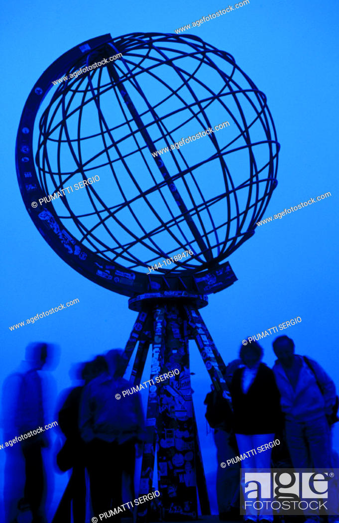 Stock Photo: 10188476, evening, blue filter, globe, island, isle, Mageroy, people, North Cape, Norway, Europe,.