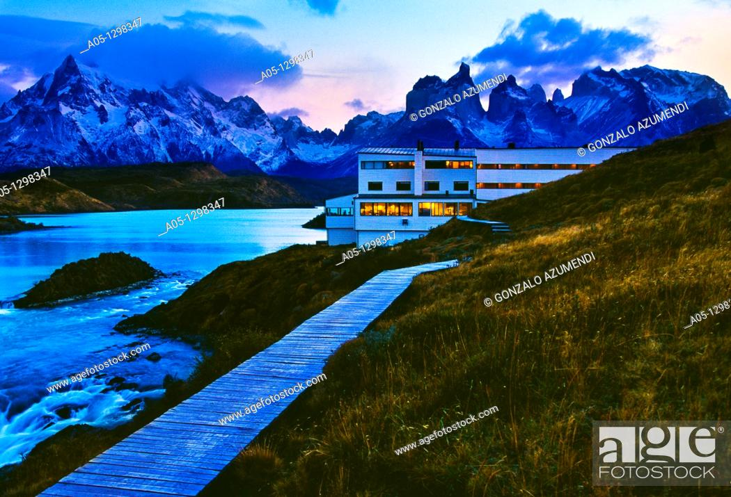 Stock Photo: Explora Hotel  Grey lake  Torres del Paine National Park  UNESCO World Biosphere Reserve, Patagonia, Chile, South America.