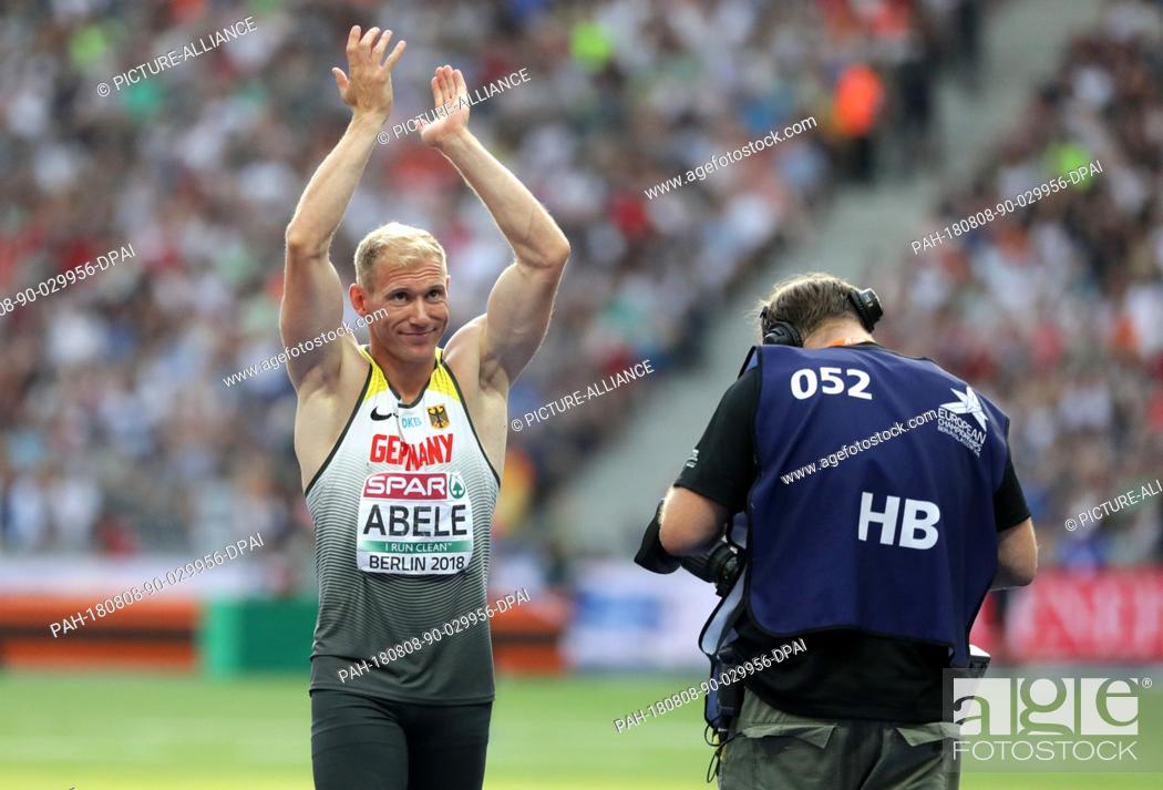 Stock Photo: 08 August 2018, Germany, Berlin: Athletics, European Championships in the Olympic Stadium: decathlon, javelin, men, Arthur Abele from Germany.