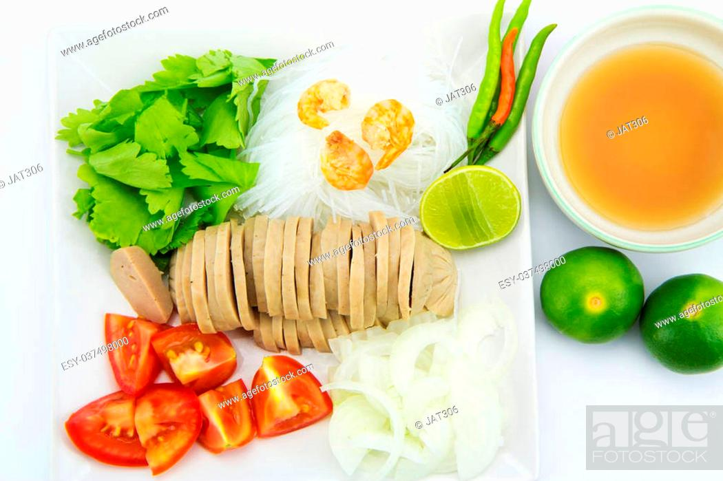 Stock Photo: Thai salad ingredient isolated on white background.