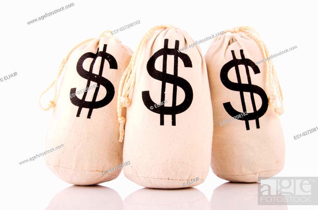 Imagen: Sacks full of money on white.