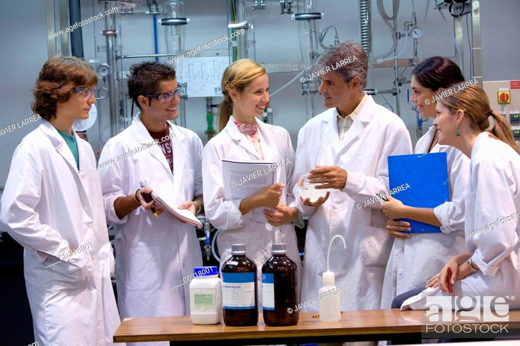 Stock Photo: Polytechnic School, University of the Basque Country, Donostia, Gipuzkoa, Basque Country. Students, Distillation towers, Laboratory of Industrial Chemistry.