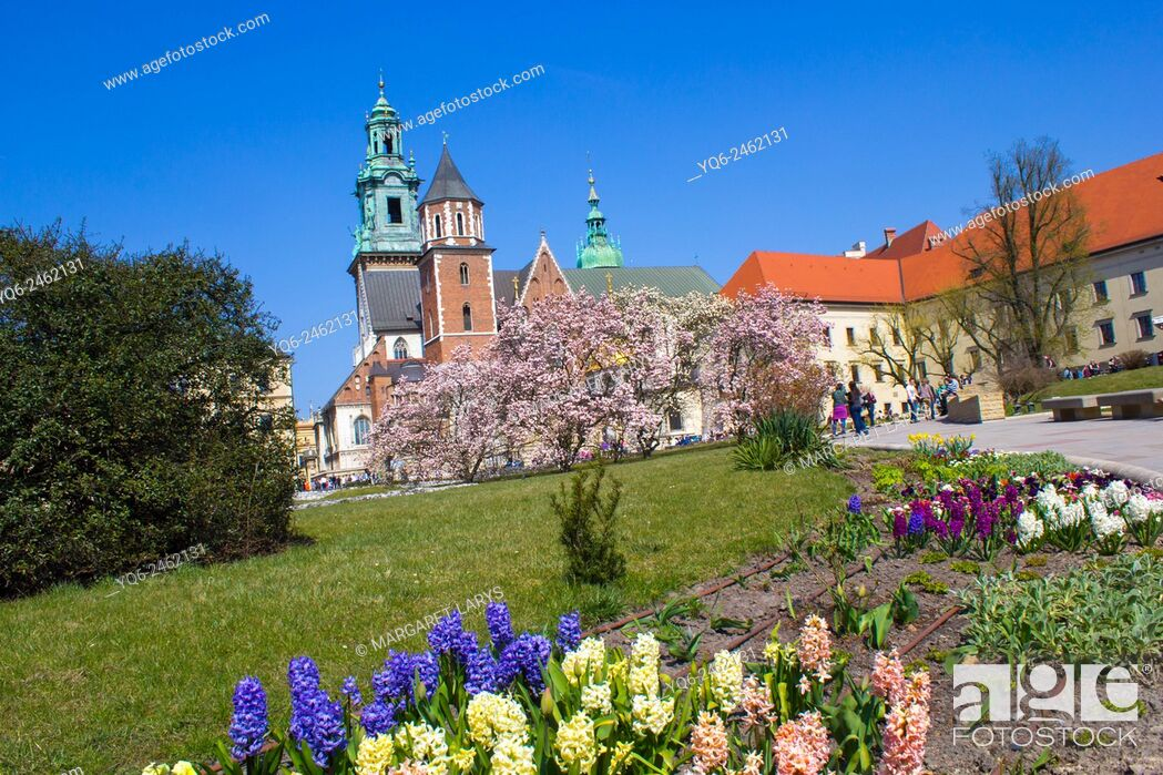 Stock Photo: Spring garden at Krakow's Royal Wawel Castle with Wawel Cathedral in the background, Krakow, Poland, Europe.