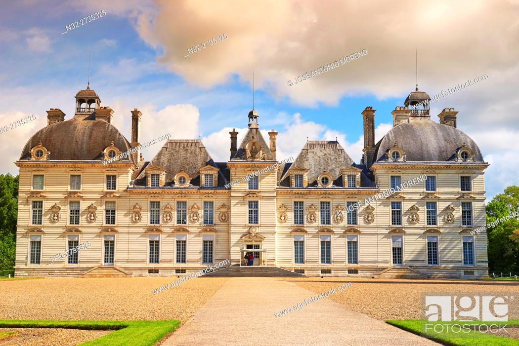Photo de stock: Cheverny, Castle and Gardens, Chateau de Cheverny, Cheverny Castle, Loire et Cher, Pays de la Loire, Loire Valley, UNESCO World Heritage Site, France.