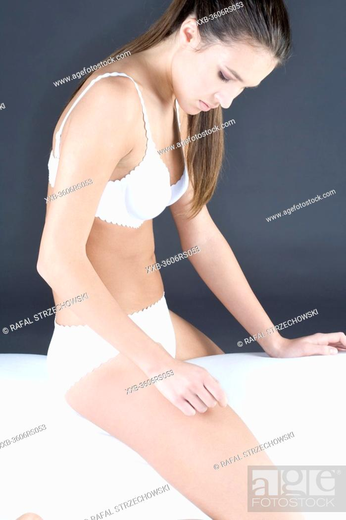 Stock Photo: young woman in underwear.