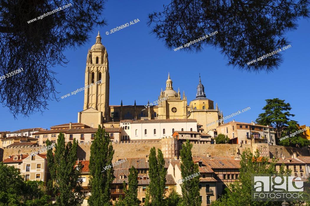 Stock Photo: Exterior view. Late gothic architecture style, cathedral Santa Iglesia Catedral de Nuestra Señora de la Asunción y de San Frutos, Segovia city.