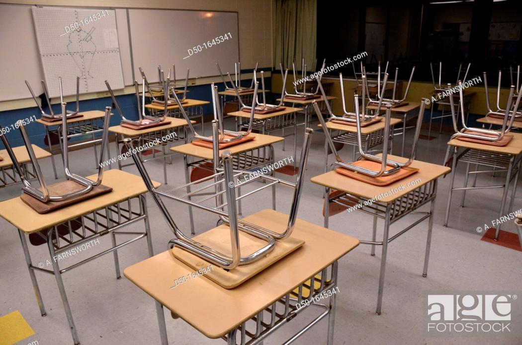 Stock Photo: Classroom, Housatonic Valley Regional High School, Falls Village, Connecticut, USA.